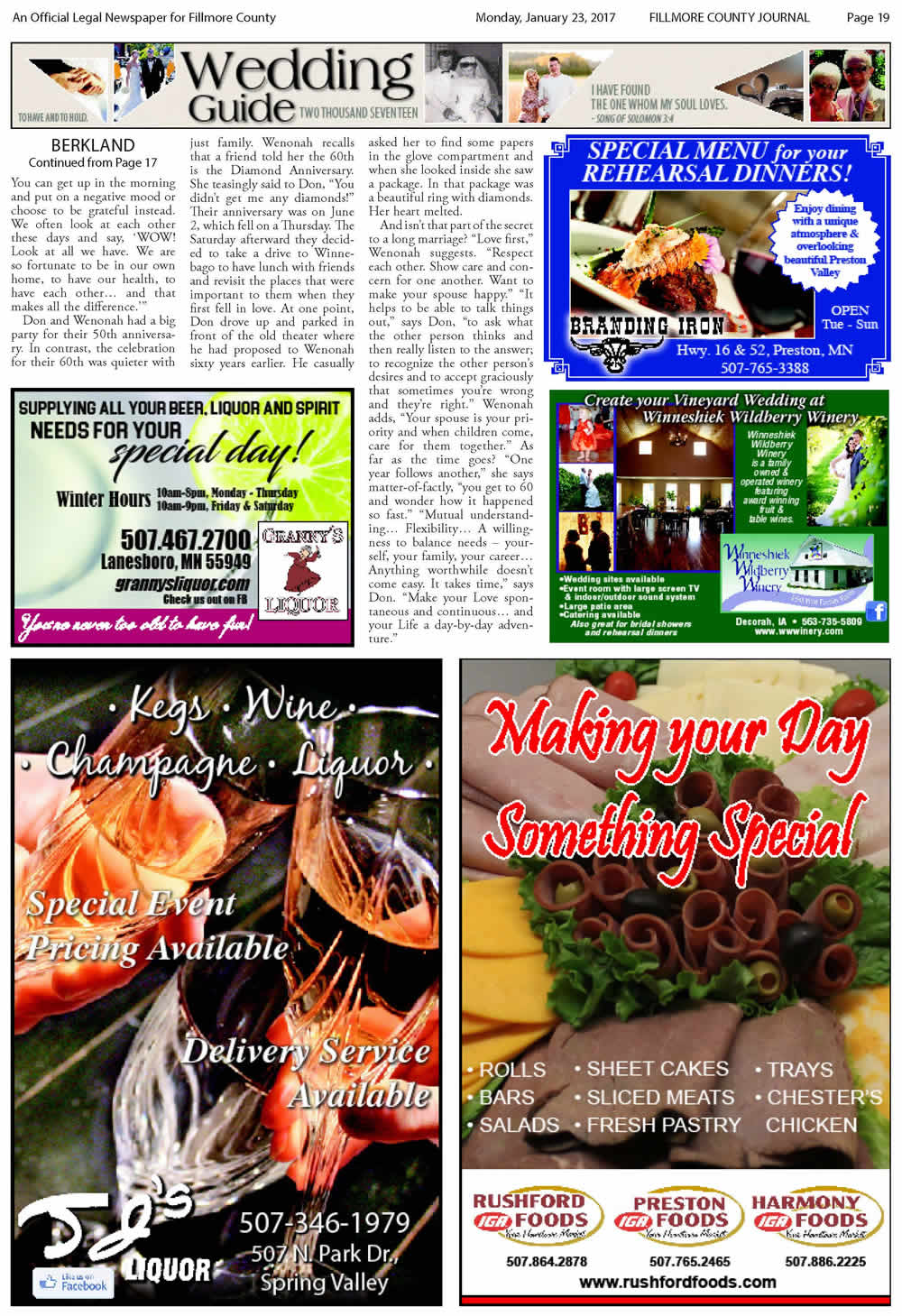 Fillmore County Journal - Wedding Guide 2017