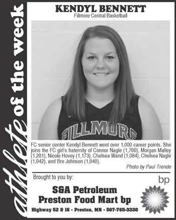 Fillmore County Journal Athlete of the Week ~ Kendyl Bennett