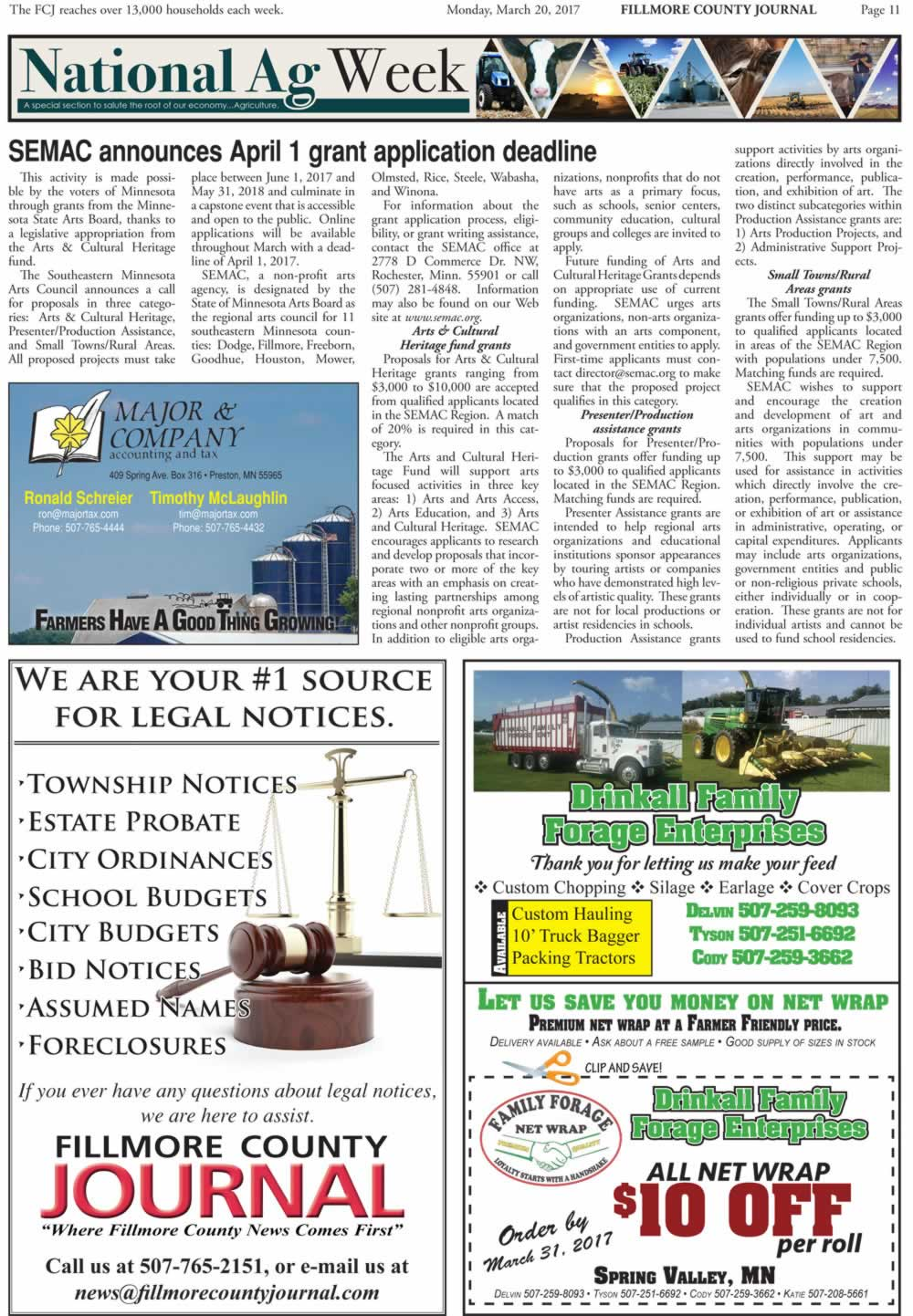 Fillmore County Journal - National Ag Week