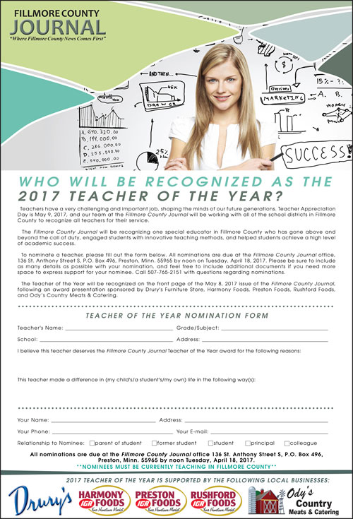 Who will you nominate as the Teacher of the Year for 2017?