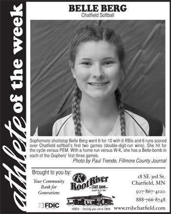 Fillmore County Journal Athlete of the Week ~ Belle Berg