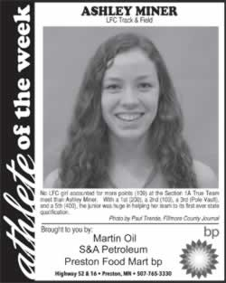 Fillmore County Journal Athlete of the Week ~ Ashley Miner