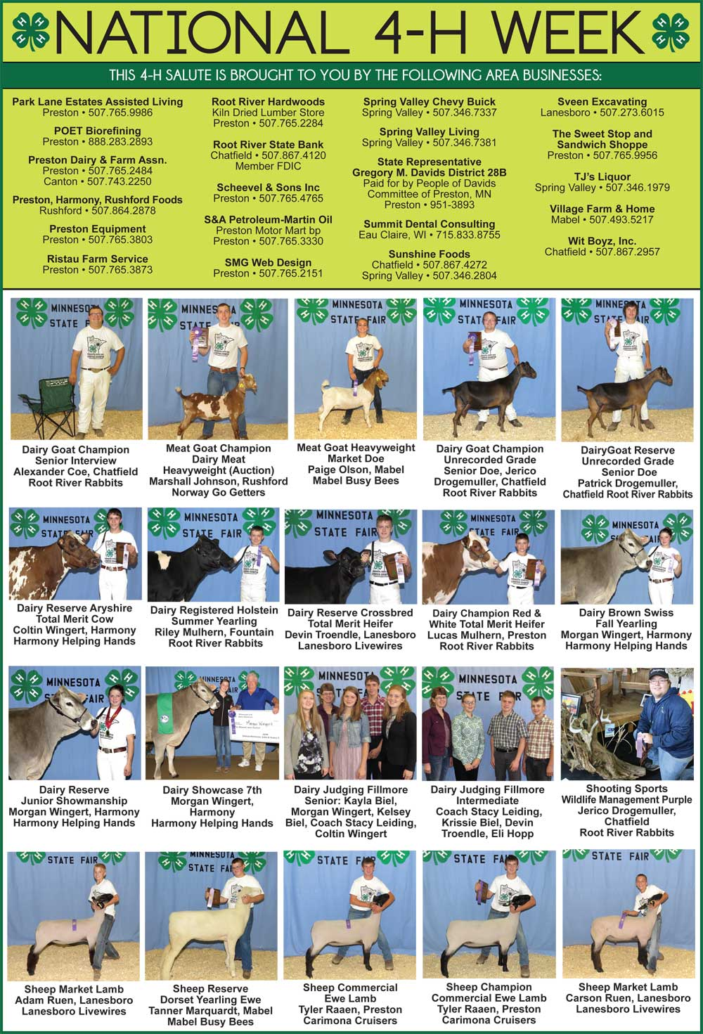 Fillmore County Journal - National 4-H Week 2017