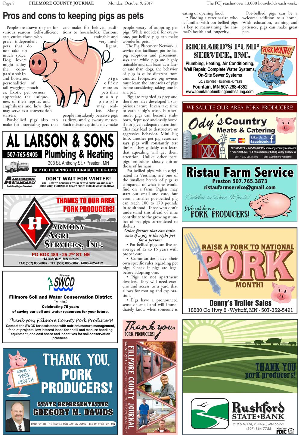 Fillmore County Journal - National Pork Month