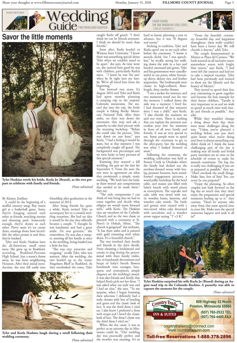 Fillmore County Journal - Wedding Section 2018