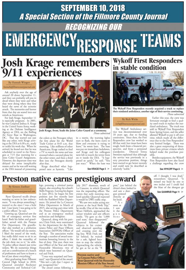 Fillmore County Journal – Emergency Response Teams – 9/10/2018
