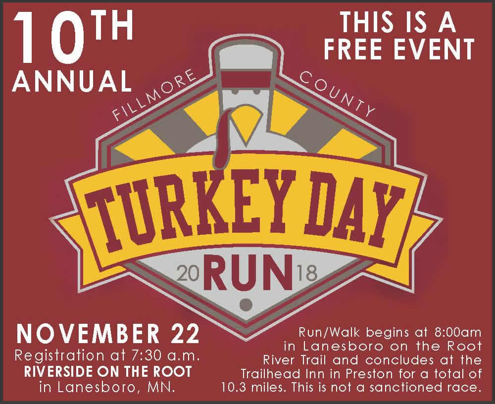 Fillmore County Journal - Turkey Day Run, Thanksgiving Walk/Run, Preston, Minnesota, Lanesboro