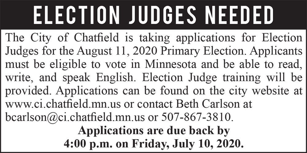 Fillmore County Journal - City of Chatfield Election Judges Needed