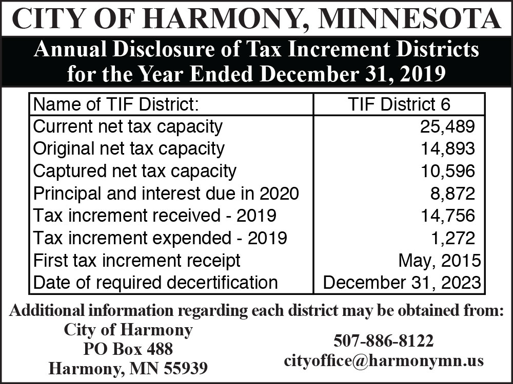 Fillmore County Journal - City of Harmony 2019 Annual Disclosure of Tax Increment Districts