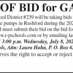 Fillmore County Journal - Rushford-Peterson Schools notice of bid for gas