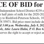 Fillmore County Journal - Notice of bid for milk