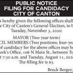 Fillmore County Journal - City of Canton Filing for Candidacy