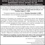 Fillmore County Journal - Notice of Filing Dates for Election to the School Board - Rushford-Peterson