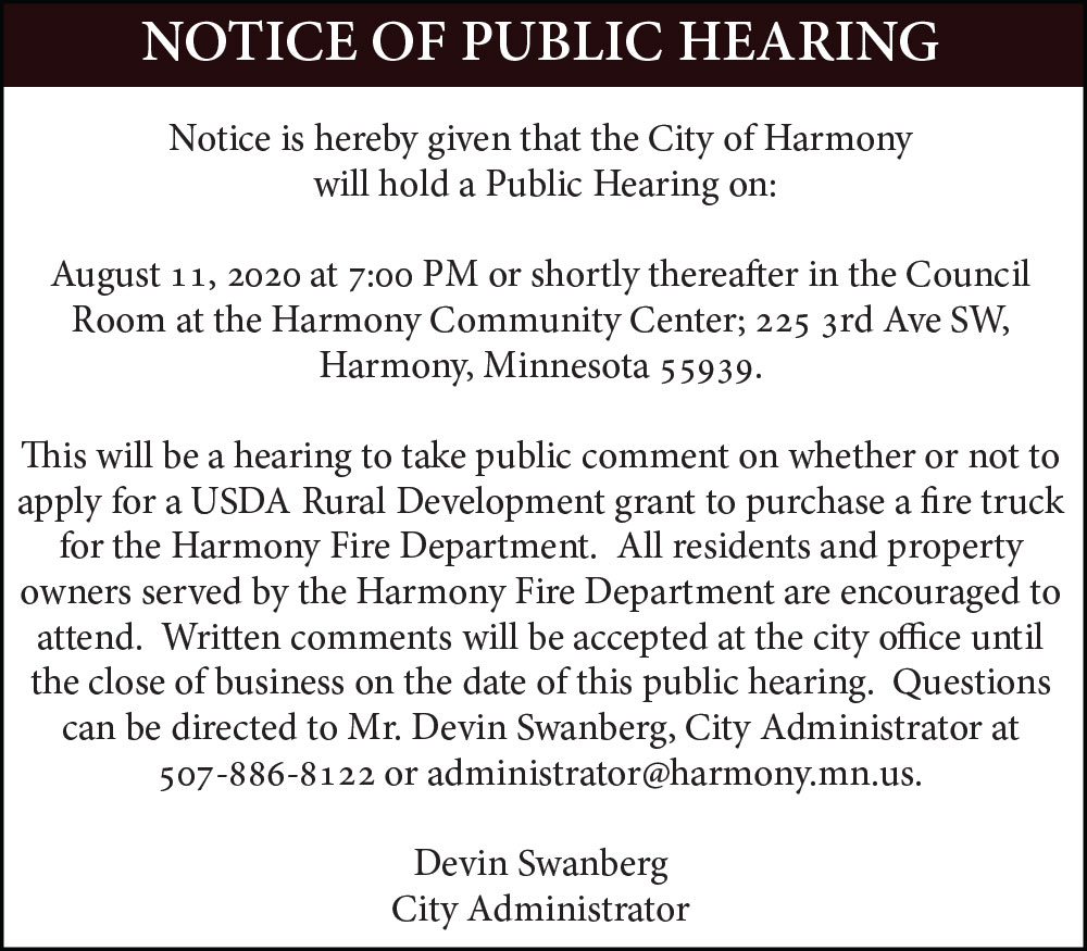 Fillmore County Journal - City of Harmony Notice of Public Hearing: Fire Truck