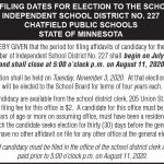 Fillmore County Journal - Chatfield Schools Filing Notice