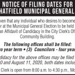 Fillmore County Journal - Notice of Filing Dates for the City of Chatfield