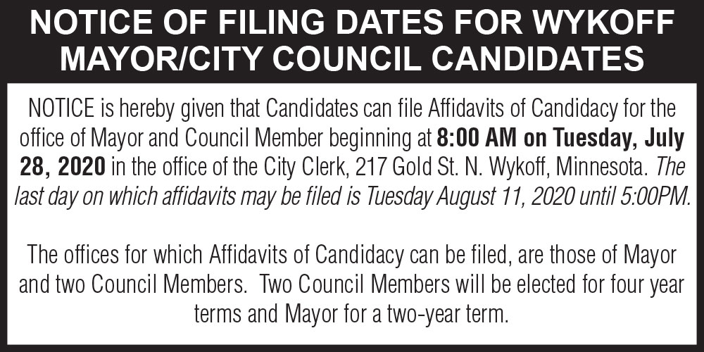 Fillmore County Journal - City Of Wykoff Filing Notice