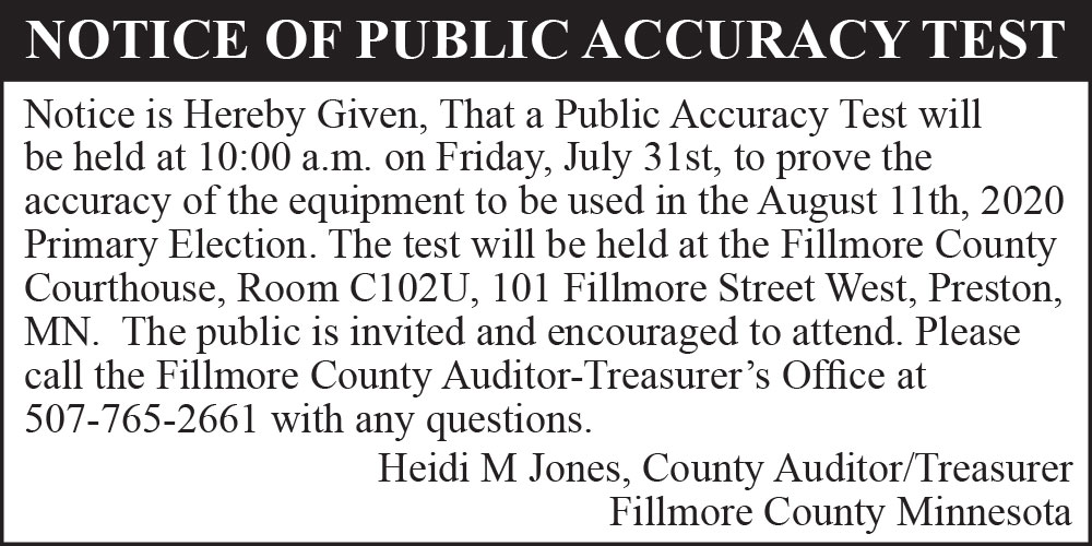 Fillmore County Journal - Fillmore County Public Accuracy Test