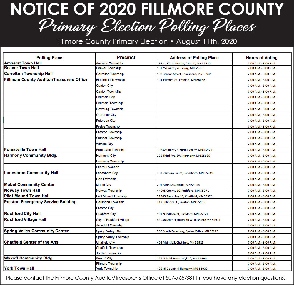 Fillmore County Journal - Fillmore County Primary Election Polling Places