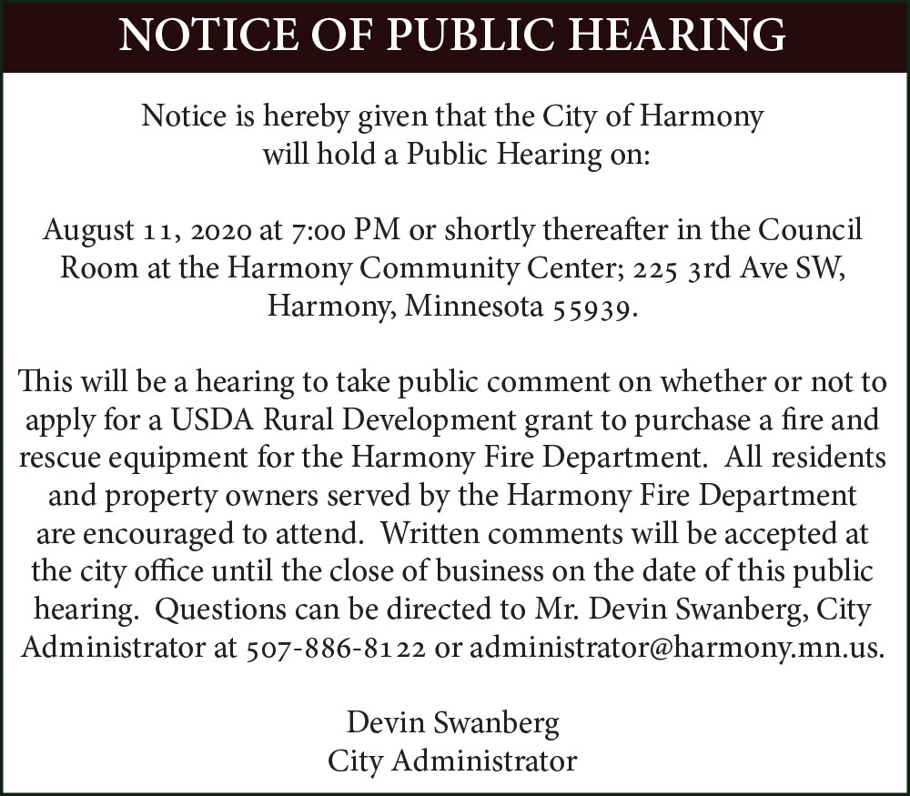 Fillmore County Journal - Fillmore County - City of Harmony Notice of Public Hearing - Fire Equipment