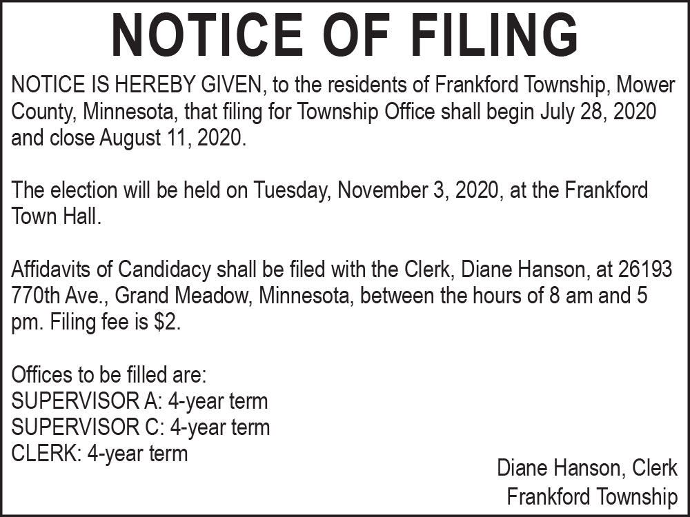 Fillmore County Journal - Frankford Township Filing Notice
