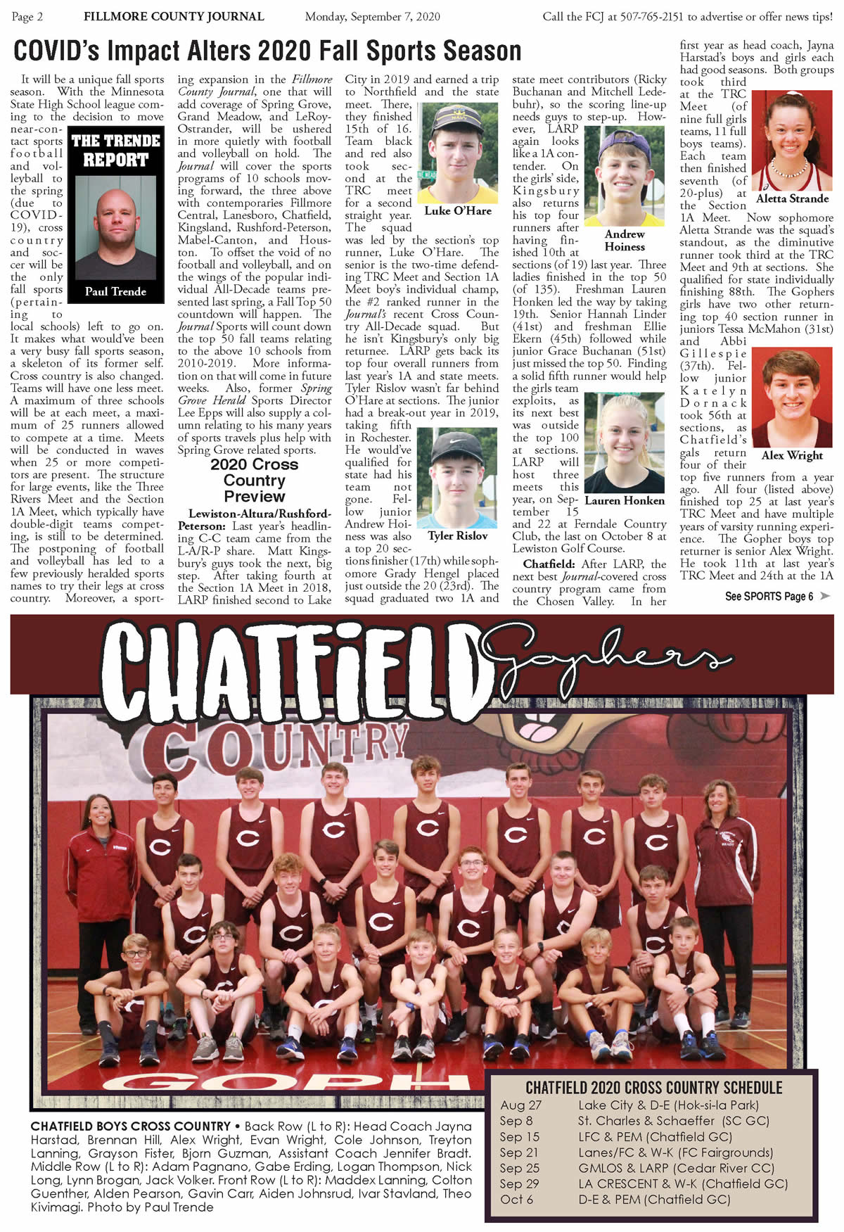 Fillmore County Journal - Fall Sports Preview 2020