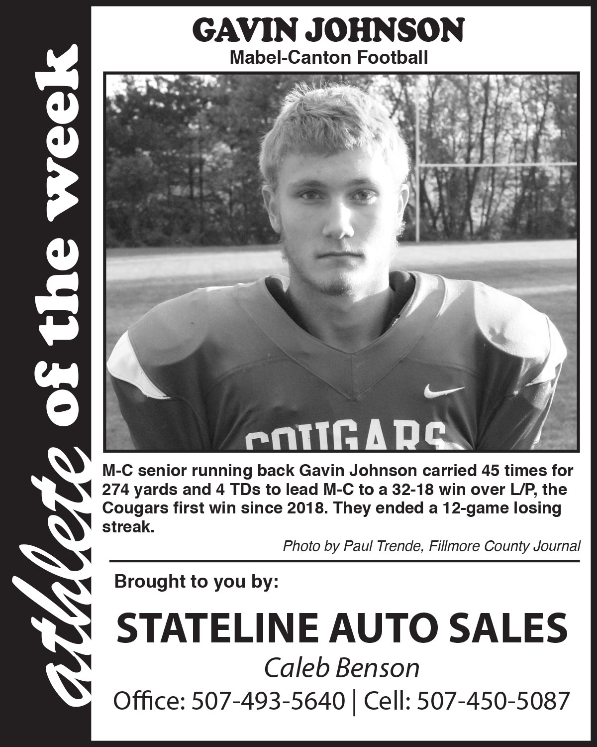 Fillmore County Journal - Athlete of the Week